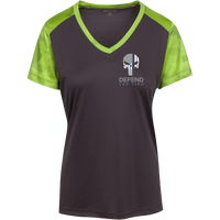 Proto LST371 Sport-Tek Ladies' CamoHex Colorblock T-Shirt T-Shirts CustomCat Iron Grey/Lime Shock X-Small
