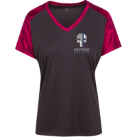 Proto LST371 Sport-Tek Ladies' CamoHex Colorblock T-Shirt T-Shirts CustomCat Iron Grey/Pink Raspberry X-Small