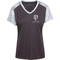 Proto LST371 Sport-Tek Ladies' CamoHex Colorblock T-Shirt T-Shirts CustomCat Iron Grey/White X-Small