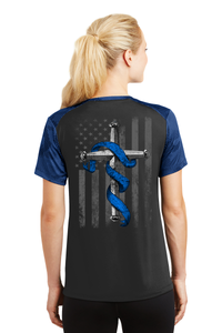 Women's Punisher Thin Blue Line Cross Flag Athletic Shirt T-Shirts