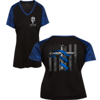 Women's Punisher Thin Blue Line Cross Flag Athletic Shirt T-Shirts Black/True Royal X-Small