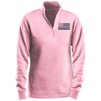 Women's Thin Blue Line Black Ops 1/4 Zip Performance Sweatshirt Sweatshirts CustomCat Pink X-Small