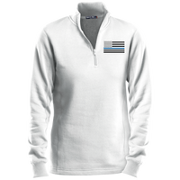 Women's Thin Blue Line Black Ops 1/4 Zip Performance Sweatshirt Sweatshirts CustomCat White X-Small