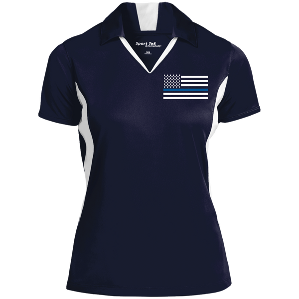 Womens' Thin Blue Line Embroidered Colorblock Performance Polo Polo Shirts CustomCat True Navy/White X-Small