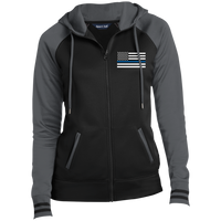 Women's Thin Blue Line Embroidered Full-Zip Hooded Jacket Jackets Black/Dark Smoke X-Small