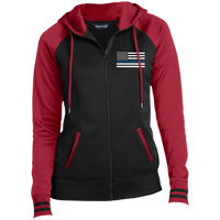 Women's Thin Blue Line Embroidered Full-Zip Hooded Jacket Jackets Black/Deep Red X-Small