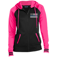 Women's Thin Blue Line Embroidered Full-Zip Hooded Jacket Jackets Black/Neon Pink X-Small
