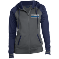 Women's Thin Blue Line Embroidered Full-Zip Hooded Jacket Jackets Dark Smoke/Navy X-Small