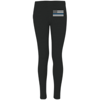 Women's Thin Blue Line Embroidered Leggings Pants Black X-Small