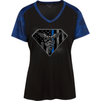 Women's Thin Blue Line Super Nurse Athletic Shirt T-Shirts Black/True Royal X-Small