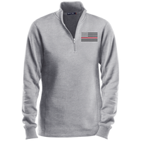 Women's Thin Red Line Black Ops 1/4 Zip Performance Pullover Sweatshirts CustomCat Athletic Heather X-Small