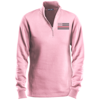 Women's Thin Red Line Black Ops 1/4 Zip Performance Pullover Sweatshirts CustomCat Pink X-Small