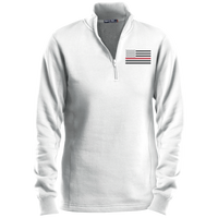Women's Thin Red Line Black Ops 1/4 Zip Performance Pullover Sweatshirts CustomCat White X-Small