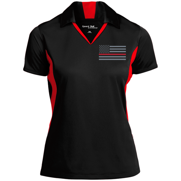 Women's Thin Red Line Embroidered Colorblock Performance Polo Polo Shirts Black/True Red X-Small