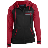 Women's Thin Red Line Embroidered Full-Zip Hooded Jacket Jackets Black/Deep Red X-Small