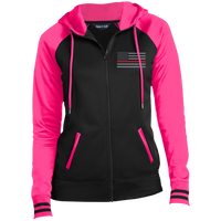 Women's Thin Red Line Embroidered Full-Zip Hooded Jacket Jackets Black/Neon Pink X-Small