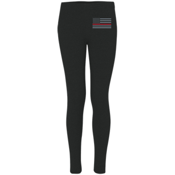 Women's Thin Red Line Embroidered Leggings Pants Black X-Small
