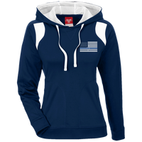 Women's Thin White Line Embroidered Colorblock Hoodie Sweatshirts Dark Navy/White X-Small
