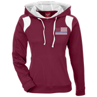 Women's Thin White Line Embroidered Colorblock Hoodie Sweatshirts Maroon/White S