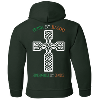 Youth Double Sided Irish by Blood Firefighter Hoodie Sweatshirts