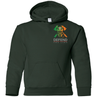 Youth Double Sided Irish by Blood Firefighter Hoodie Sweatshirts Forest Green YS