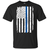 Youth Thin Blue Line Shirt T-Shirts CustomCat Black YXS
