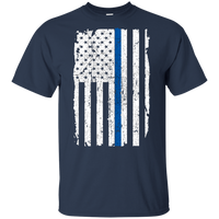 Youth Thin Blue Line Shirt T-Shirts CustomCat Navy YXS