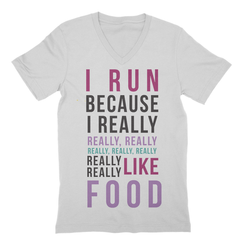 I Run Because Food V-Neck