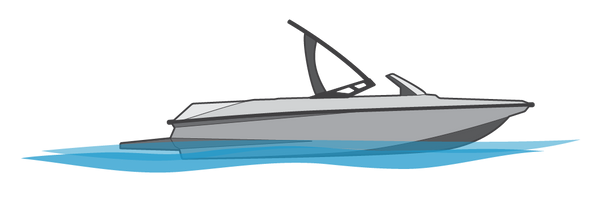 Illustration of speedboat from the side