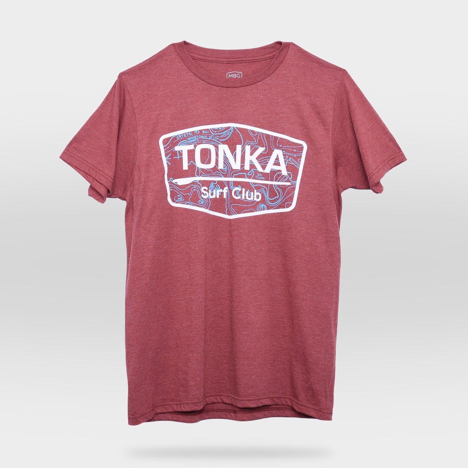 Front view of Coral TONKA Surf Club T-Shirt
