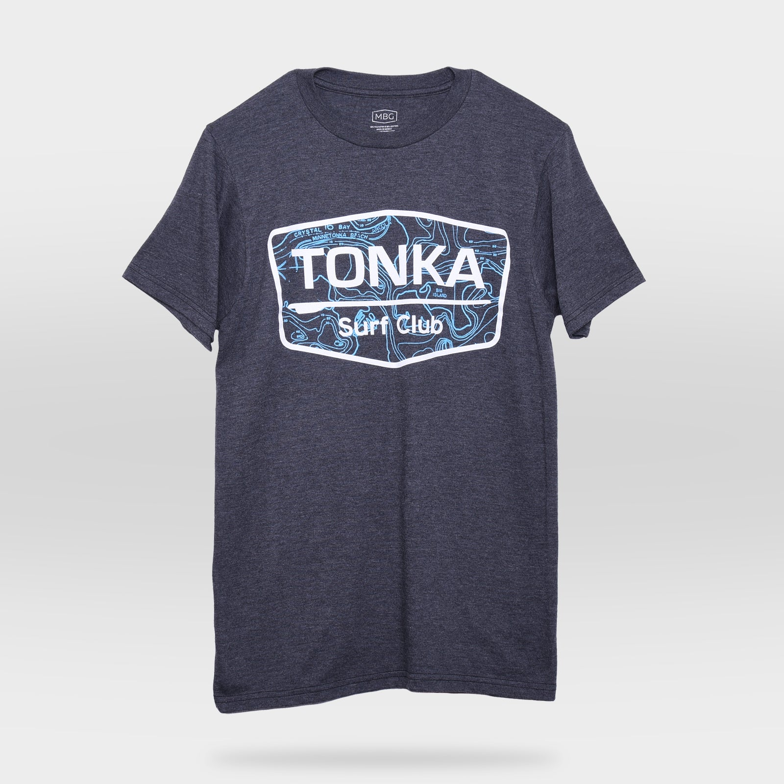 Front view of Charcoal TONKA Surf Club T-Shirt