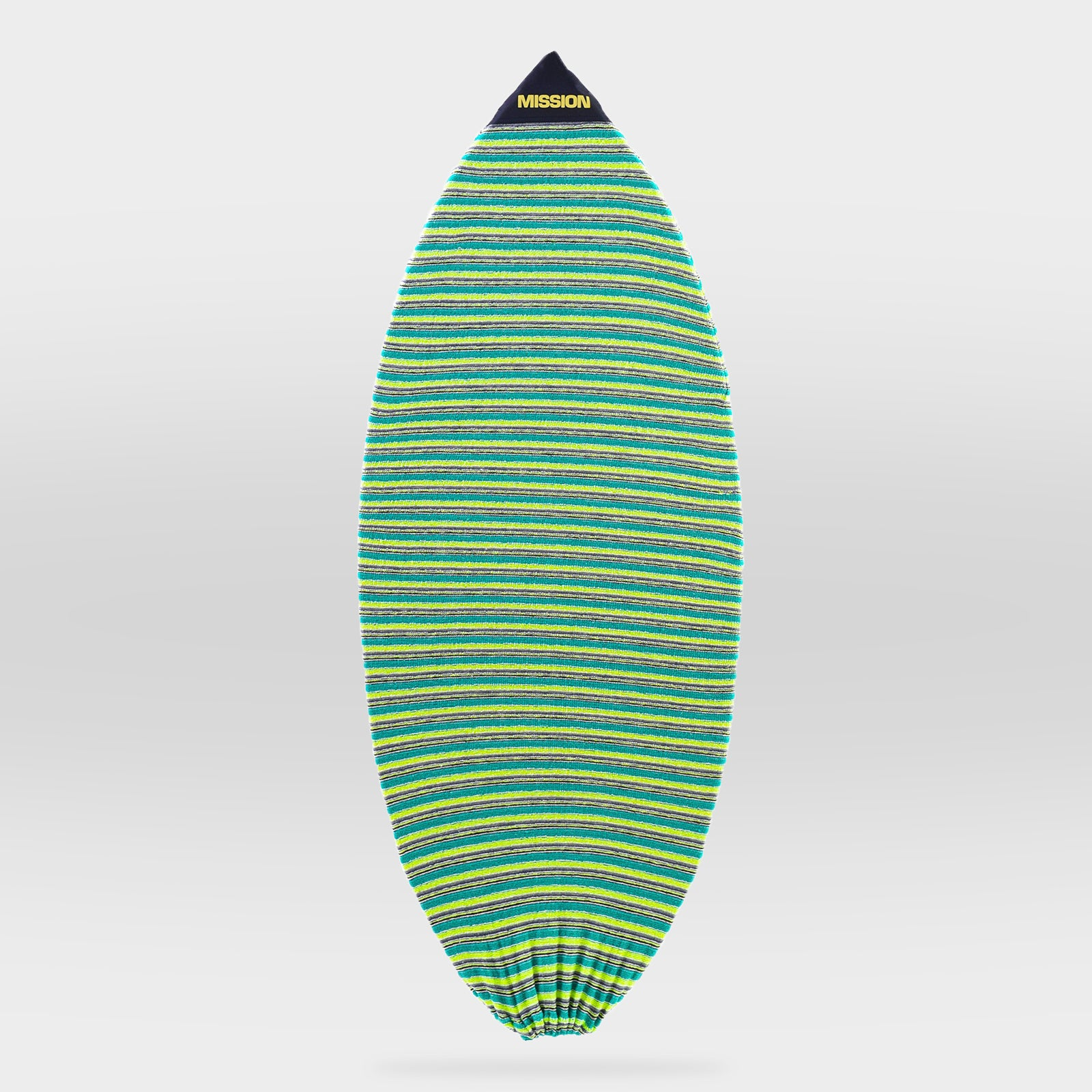 Front view of small point nose Grass Green Factory Refurbished Wake Surfboard Sock