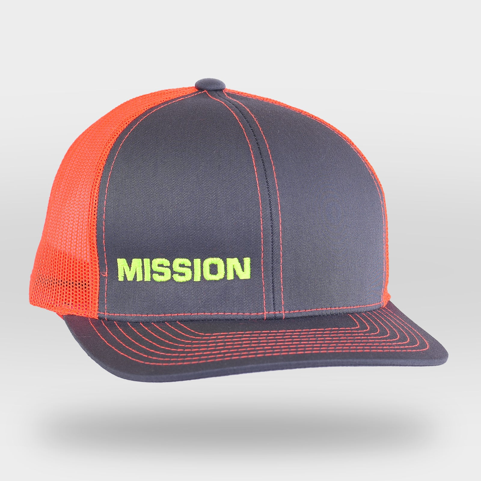 Neon Orange MISSION Snapback Hat