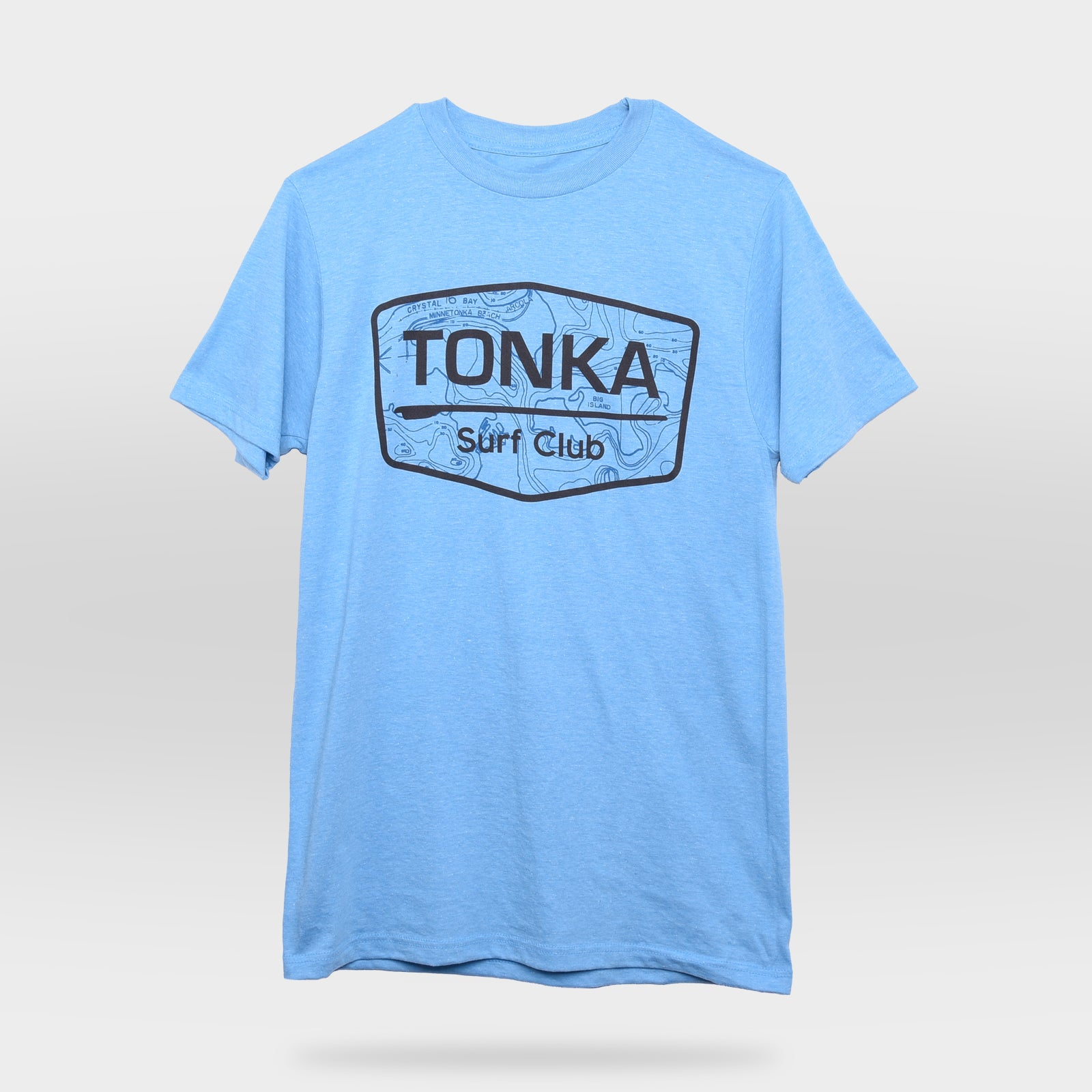 Front view of Light Blue TONKA Surf Club T-Shirt