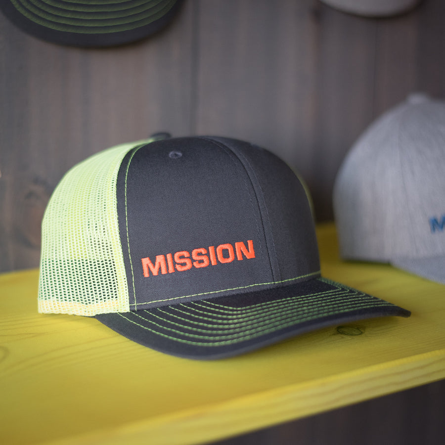 Image of the neon orange MISSION Snapback hat