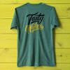 Back view of the MISSION Tasty Wakes heather green t-shirt