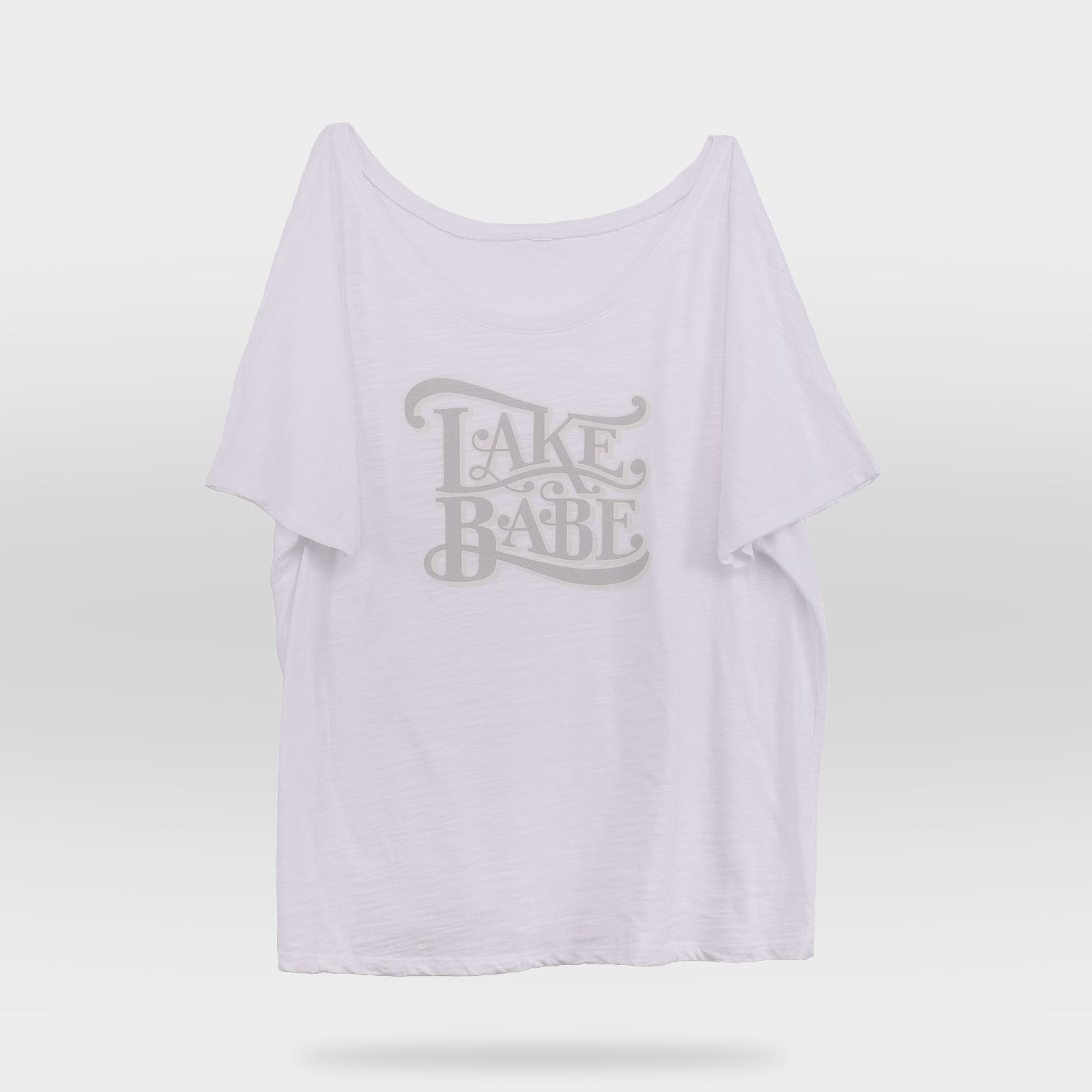 Front view of White Lake Babe Slouchy Women's T-shirt