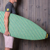 Carrying the large green point nose MISSION board sock
