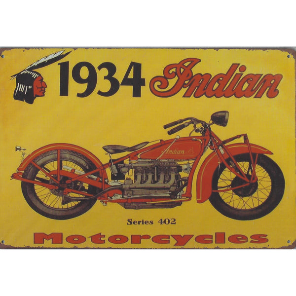 1934 Indian Motorcycle Tin Sign-Mr Revhead