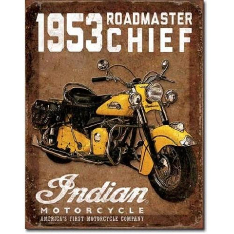 1953 Indian Roadmaster Tin Sign-Mr Revhead