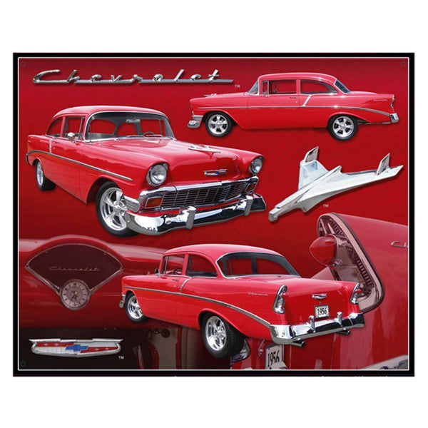 1956 Chevrolet Red Coupe Tin Sign-Mr Revhead