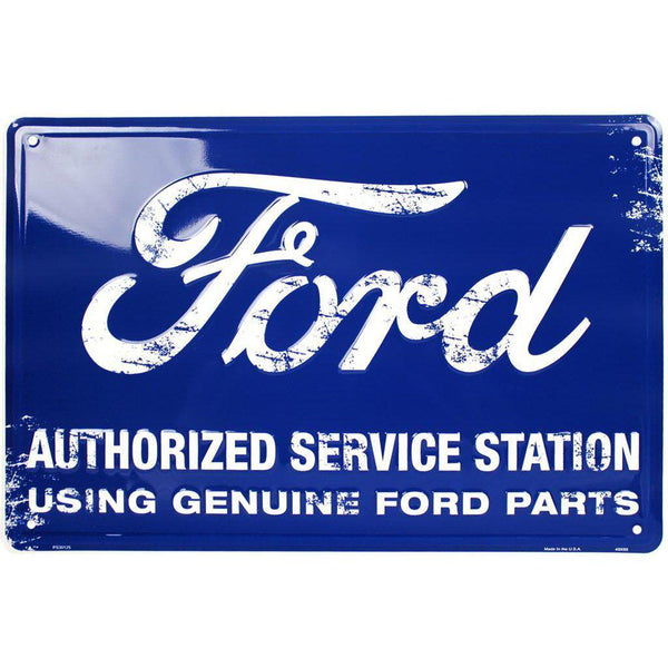 Ford Authorized Service Station Tin Sign-Mr Revhead