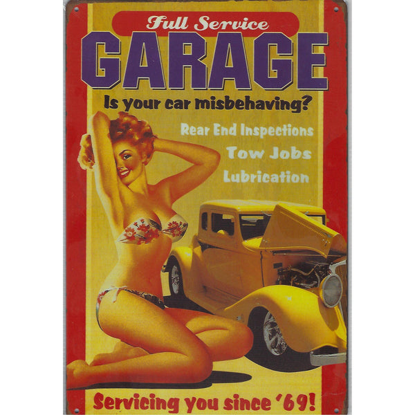 Full Service Garage Tin Sign-Mr Revhead