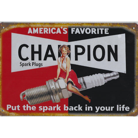 Americas Favorite Champion Spark Plugs Tin Sign-Mr Revhead