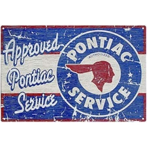 Approved Pontiac Service Tin Sign-mightymoo