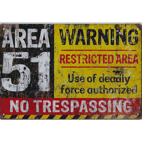 Area 51 Warning Restricted Area Tin Sign-Mr Revhead