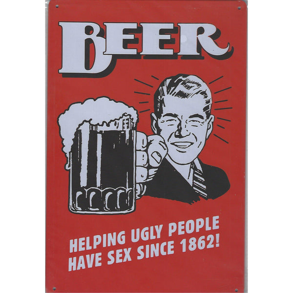 Beer Helping Ugly People Tin Sign-Mr Revhead
