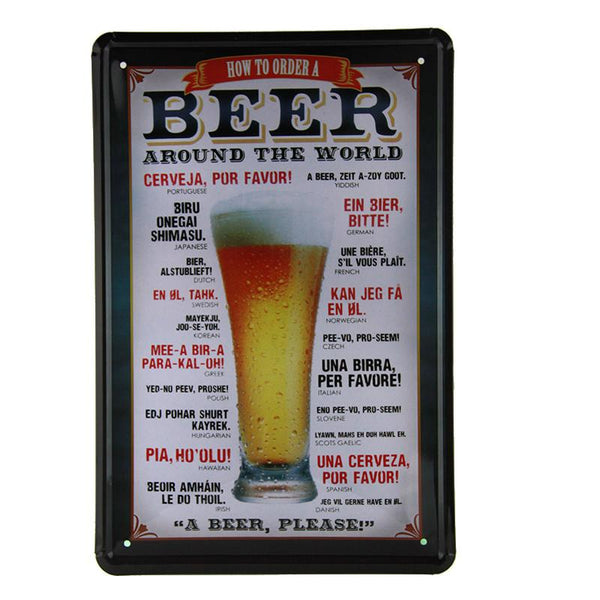 Beer How To Order Around The World Tin Sign-Mr Revhead