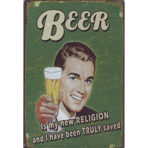 Beer Is My Religion Tin Sign-Mr Revhead
