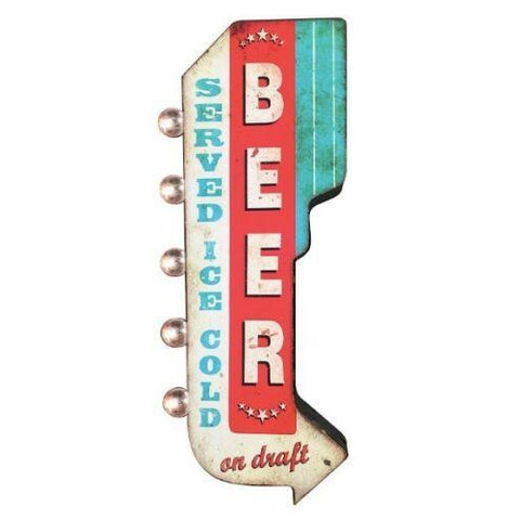Beer Served Ice Cold Double Sided LED Light Sign-Mr Revhead